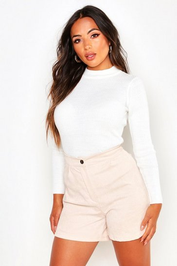 Womens Ivory Petite Ribbed Turtle Neck Jumper