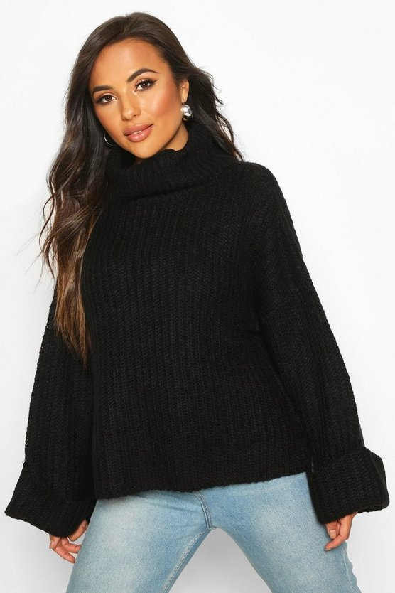 Womens Black Petite Rib Knit Wide Sleeve Turn Up Cuff Jumper