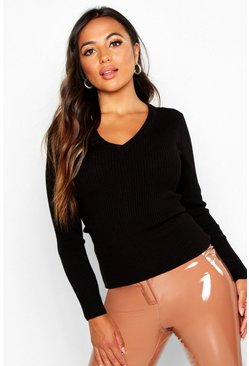 Womens Black Petite Ribbed V-Neck Jumper