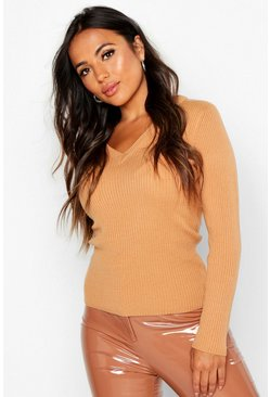Womens Camel Petite Ribbed V-Neck Jumper