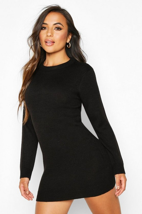Black Petite Crew Neck Long Sleeve Jumper Dress