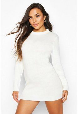 Womens Ivory Petite Crew Neck Long Sleeve Jumper Dress