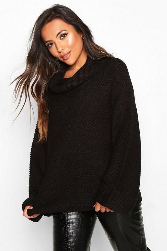 Black Petite Cowl Neck Oversized Jumper With Split Side Seam