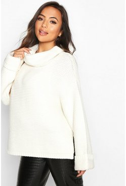Womens Ivory Petite Cowl Neck Oversized Jumper With Split Side Seam