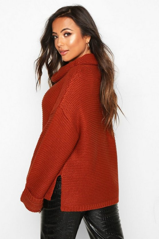 Petite Cowl Neck Oversized Jumper With Split Side Seam