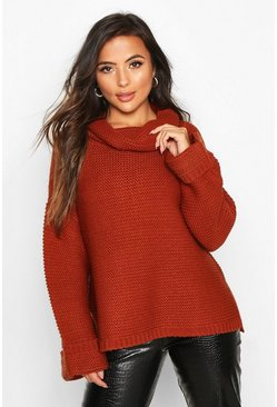 Womens Rust Petite Cowl Neck Oversized Jumper With Split Side Seam