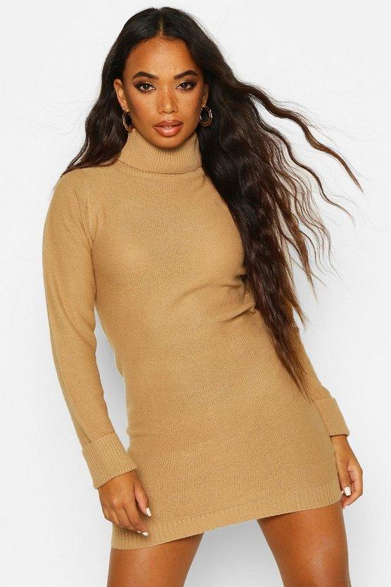 Petite Knitted Roll Neck Jumper Dress