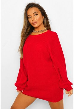 Womens Berry Petite Crew Neck Fisherman Rib Jumper Dress