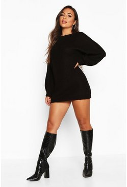 Black Petite Crew Neck Fisherman Rib Jumper Dress