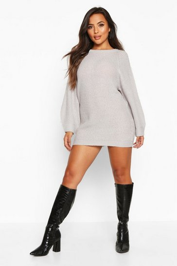 Womens Silver grey Petite Crew Neck Fisherman Rib Jumper Dress