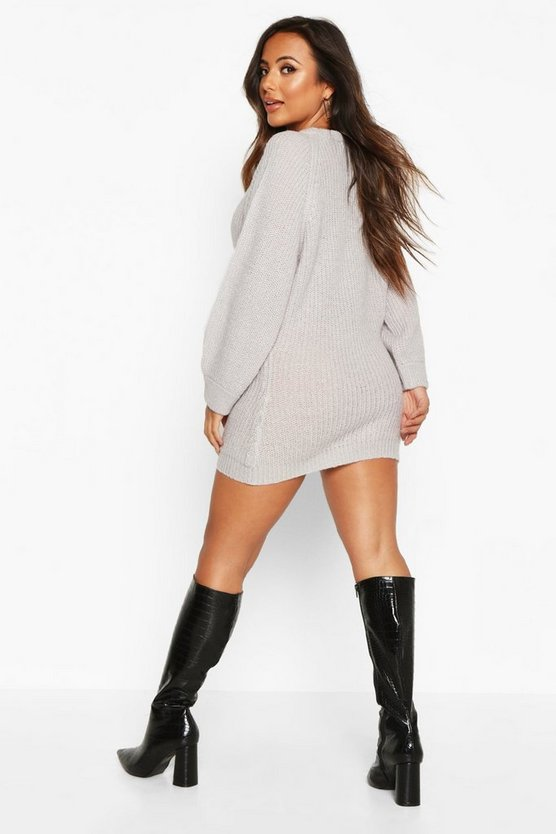 Petite Crew Neck Fisherman Rib Jumper Dress
