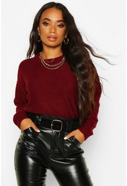 Womens Berry Petite Boxy Scoop Neck Jumper