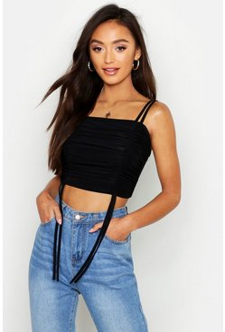 Womens Black Petite All Over Ruched Cropped Cami Top
