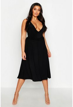 Womens Black Plus Jersey Pleated Midi Skirt