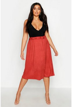 Womens Terracotta Plus Jersey Pleated Midi Skirt