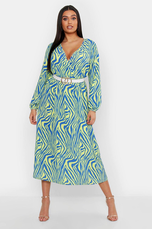 Plus Zebra Print Wrap Midi Dress