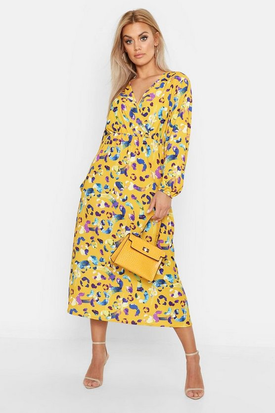Stone Plus Leopard Print Wrap Midi Dress