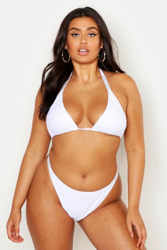White Plus Diamante Strap Triangle Bikini