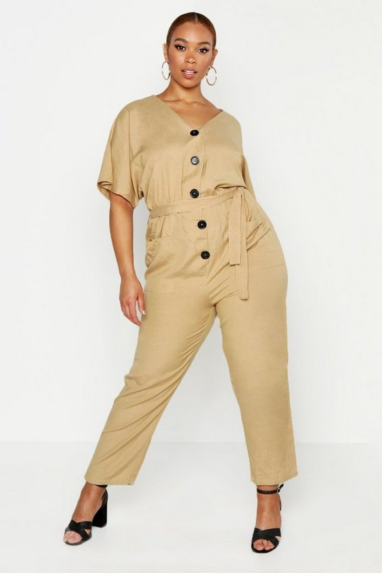 Womens Stone Plus Short Sleeved Button Down Twill Boiler Suit