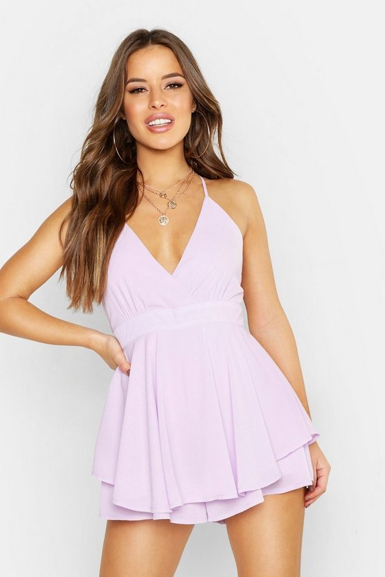 Womens Lilac Petite Frill Cami Playsuit