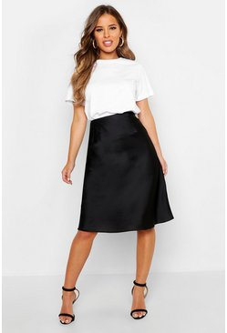 Womens Black Petite Satin Slip Skirt