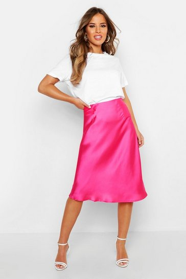 Womens Magenta Petite Satin Slip Skirt