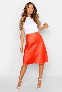 Womens Orange Petite Satin Slip Skirt