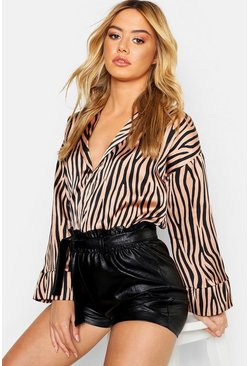 Womens Nude Petite Satin Animal Print Wide Sleeve Shirt
