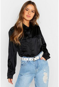Petite Satin Pocket Detail Utility Shirt, Black, MUJER