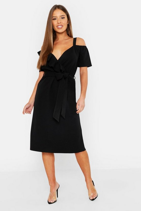 Petite Plunge Ruffle Belt Midi Dress