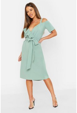 Womens Sage Petite Plunge Ruffle Belt Midi Dress