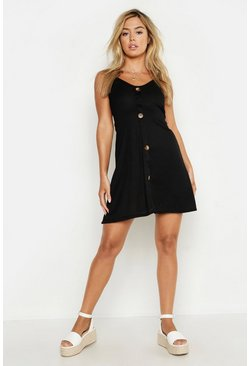 Womens Black Petite Ribbed Button Swing Dress