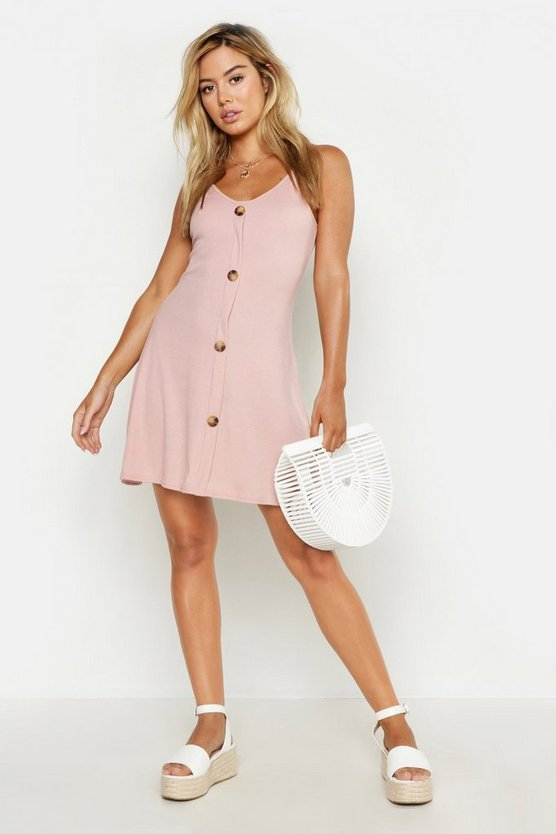 Womens Blush Petite Ribbed Button Swing Dress
