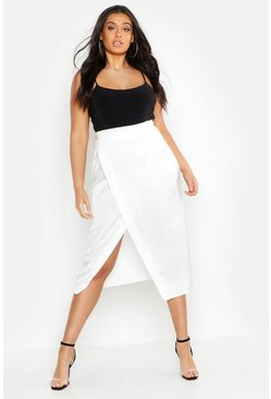 Womens White Plus Button Satin Wrap Midi Skirt