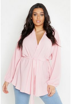 Womens Pink Plus Pastel Woven Wrap Top