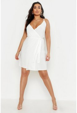White Plus Pastel Slinky Wrap Dress