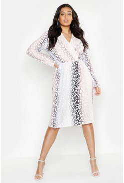 Plus Ombre Leopard Wrap Midi Dress, Blush, MUJER
