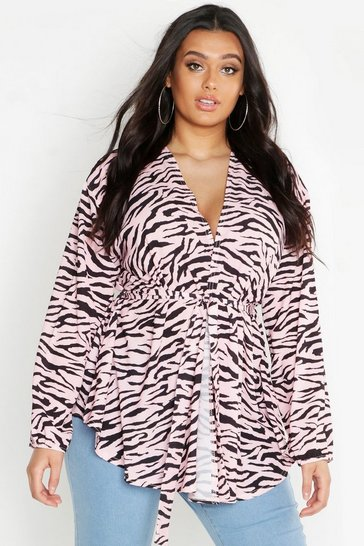 Womens Pink Plus Pastel Zebra Woven Wrap Top