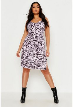 Dam Lilac Plus Pastel Zebra Slinky Cowl Midi Dress