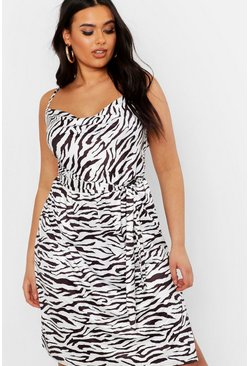 Plus Pastel Zebra Slinky Cowl Midi Dress, White, MUJER