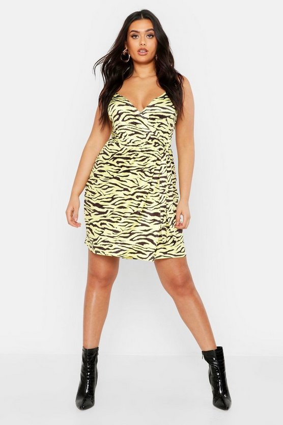 Plus Pastel Zebra Print Slinky Wrap Midi Dress, Lemon, DAMEN