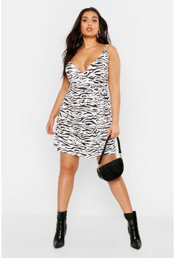 Womens White Plus Pastel Zebra Print Slinky Wrap Midi Dress