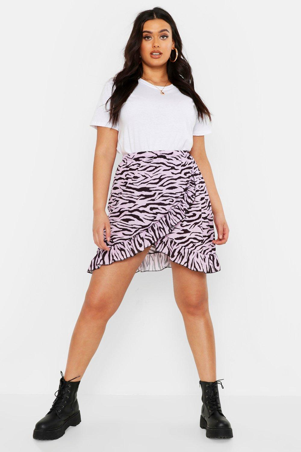 Plus Pastel Zebra Ruffle Wrap Mini Skirt