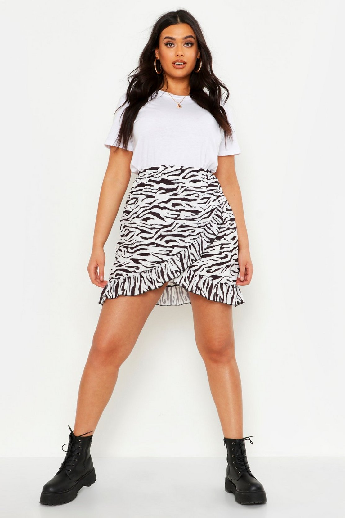 Plus Pastel Zebra Ruffle Wrap Mini Skirt by Boohoo