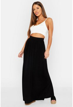 Petite Floor Sweeping Jersey Maxi Skirt, Black, MUJER
