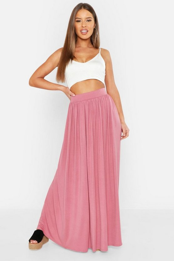 Womens Dusky pink Petite Floor Sweeping Jersey Maxi Skirt