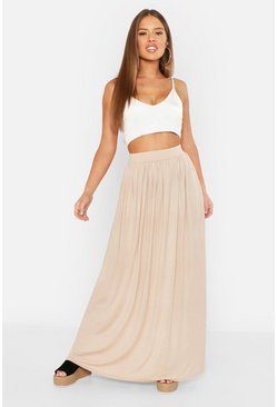 Sand Petite Floor Sweeping Jersey Maxi Skirt