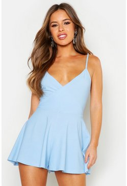 Blue Petite Cami Wrap Playsuit