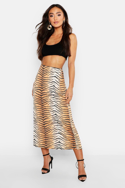 Petite Tiger Print Slinky Midi Skirt