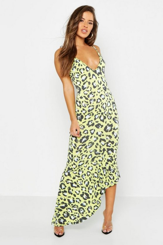 Womens Lime Petite Leopard Print Asymmetric Hem Maxi Dress